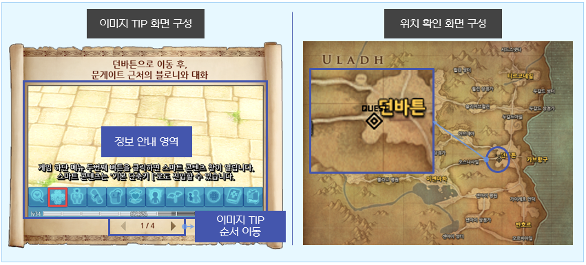 이미지 TIP과 위치 확인 화면 구성 이미지