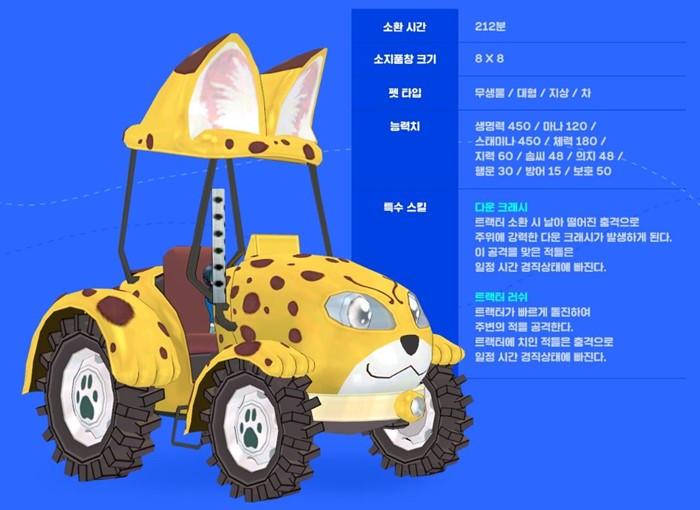 자파리 트랙터 동물 캐릭터 카드 상세 능력치